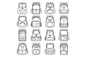Bag pack linear icons