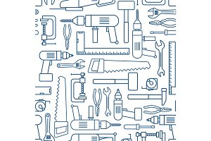 Hardware tool set linear seamless pattern. Vector carpenter of working tools