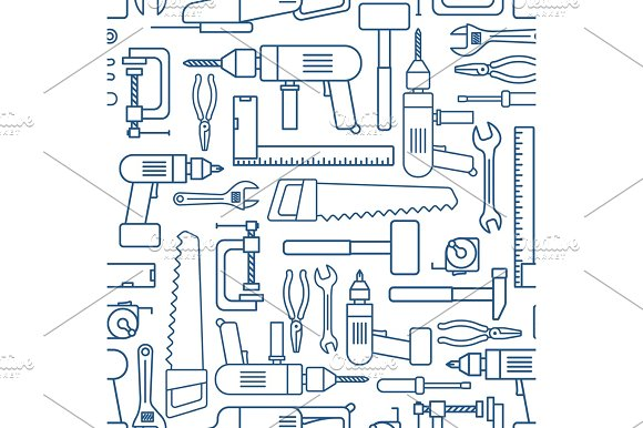 Hardware Tool Set Linear Seamless Pattern Vector Carpenter Of Working Tools