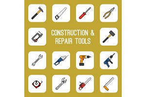 Home diy tools colored line icons