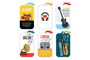 Music tags or musical labels or banners with guitar and drums, saxophone and headphones