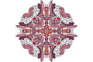Round red ornate element with swirls
