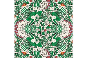 Floral ornamental pattern with outline swirls