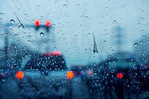 Traffic jam on rainy day