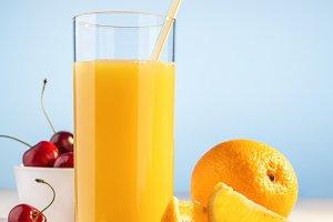 Juice, cherry berries and orange.