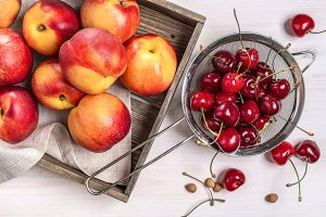 Cherries and nectarines.