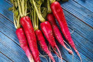 Bunch of fresh long radish