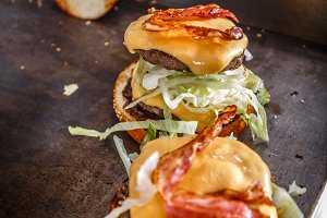 Meat burgers with bacon