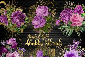 Purple and Gold Shabby Florals