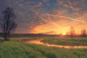Rising sun over green meadow