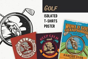 Golf T-shirts And Poster Labels