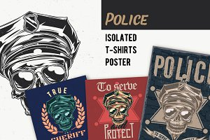 Police T-shirts And Poster Labels