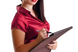 Girl holding a pen and a folder