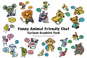 Friends Fun Chat Cartoon Animal Pack