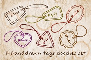 Handdrawn tags doodles set