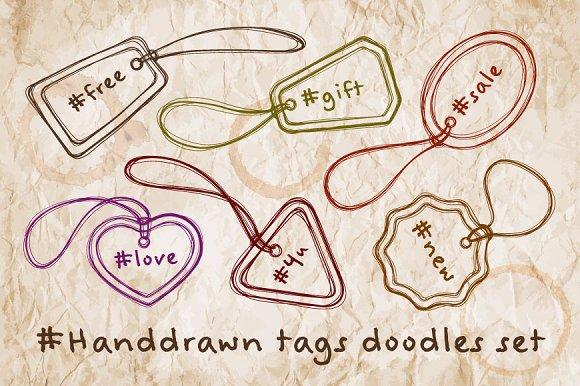 Handdrawn Tags Doodles Set