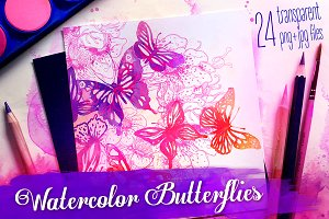 Watercolor Painting: Butterflies