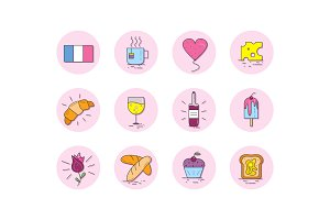 French food icon set