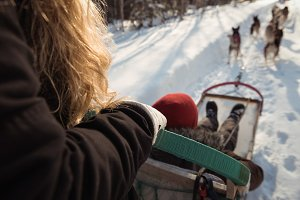 Woman on a sleigh ride with Siberian husky