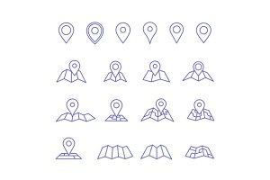 Pin and map icons