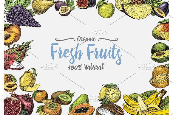 Vintage Hand Drawn Fresh Fruits Background Summer Plants Vegetarian And Organic Citrus And Other Engraved Pineapple Lemon Papaya Pitaya Maracuya And Bananas