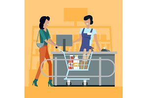 Shopping in Grocery Store Vector Illustration.