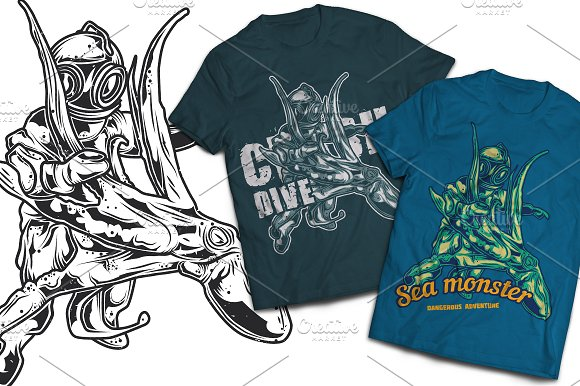 Sea Monster T-shirts Labels