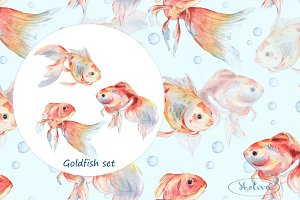Goldfish set. Watercolor