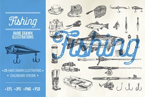 Hand drawn fishing illustrations