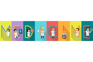 Medicine Science Banner. Human Characters in Gowns