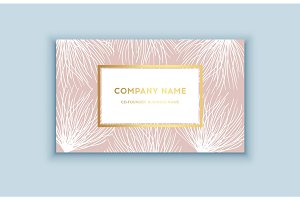 Vector tropical pink and gold business card. Exotic design for cosmetics, spa, perfume, health care products.