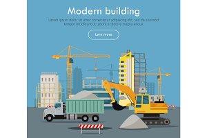 Modern Building Flat Design Vector Web Banner
