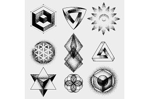Set of impossible and other tattoo shapes, dotwork, blackwork all made of dots. Geometrical, sacred figures stars and cubes