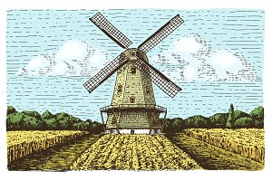 Windmill landscape in vintage, retro hand drawn or engraved style, can be use for bakery logo, wheat field with old building