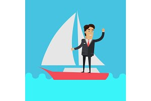 Young Businessman on Sailing Yacht