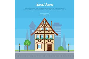 Sweet Home House Banner Poster Template. Vector