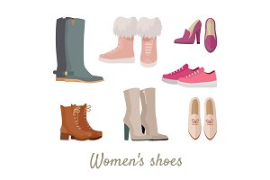 Set of Woman's Shoes Vectors in Flat Design
