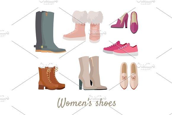 Set Of Woman's Shoes Vectors In Flat Design