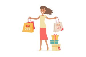 Woman Shopping. Lady Carries Paper Bags. Hot Sale