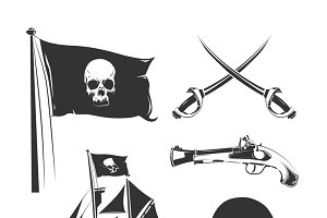 Pirate elements for vintage logo