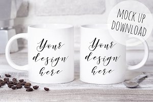 Two Mugs Mockup Styled Photo