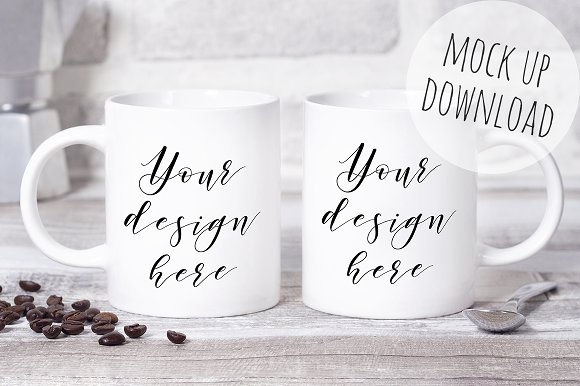 Free Two Mugs Mockup Styled Photo