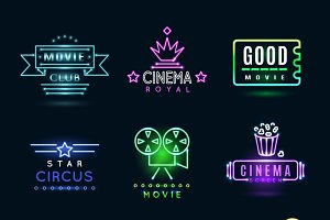 Neon circus and cinema emblems