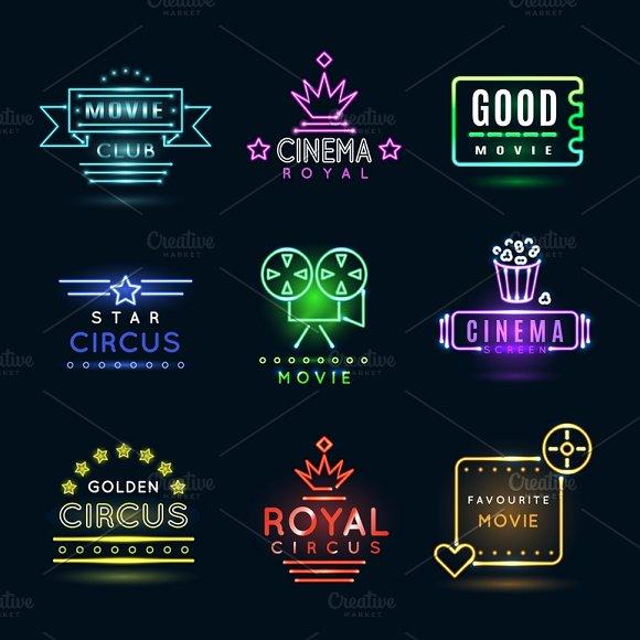 Neon Circus And Cinema Emblems