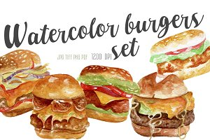 Watercolor burgers set