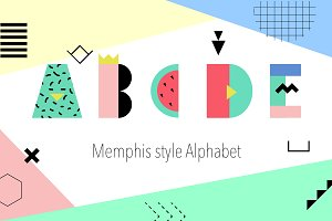 Memphis Alphabet and summer cards