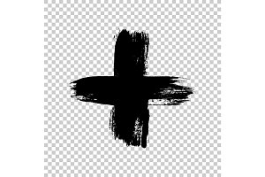 Hand drawn cross. Grunge cross. Cross made with brush stroke