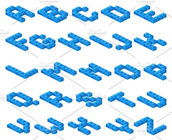 Isometric 3D Vector Font