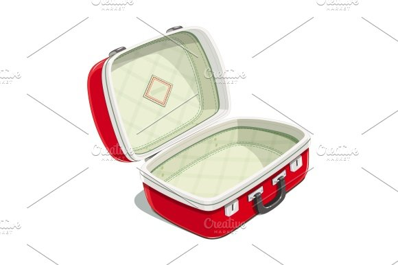 Red Open Suitcase For Travel