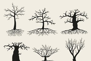 Tree silhouettes with roots
